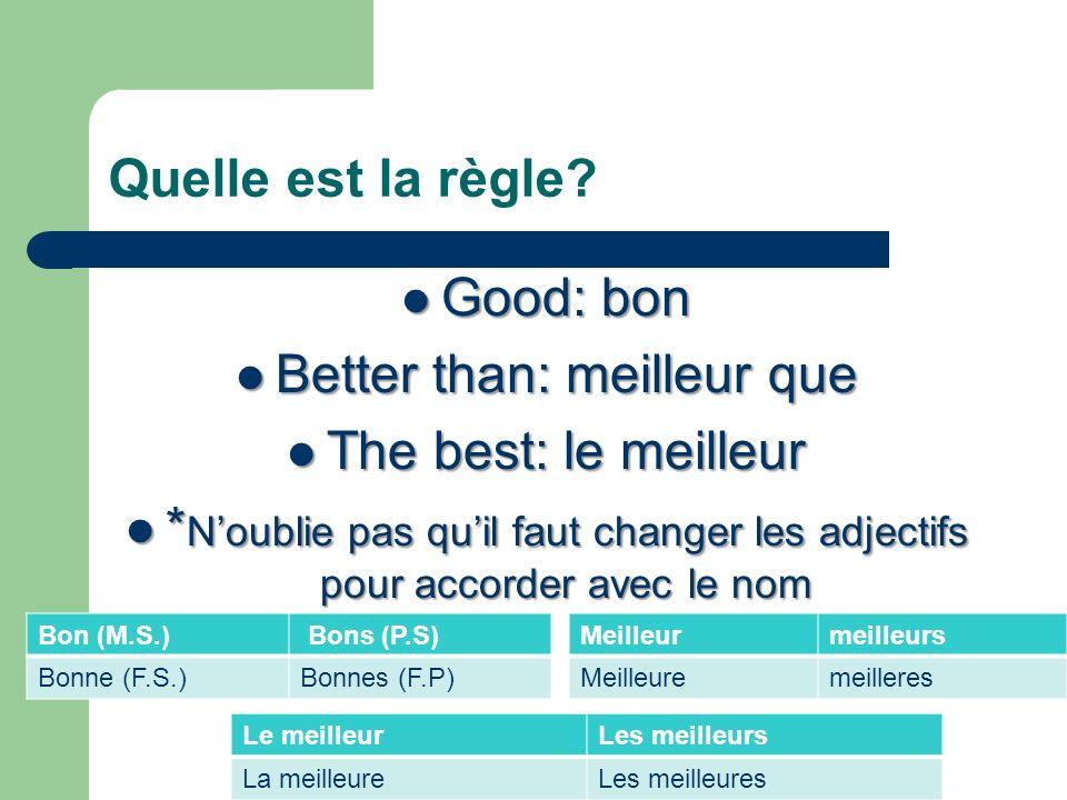 Quelle est la règle? Good: bon Good: bon Better than: meilleur que Better than: meilleur que The best: le meilleur The best: le meilleur * Noublie pas