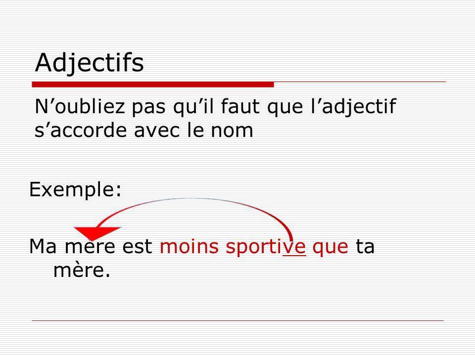 Adjectifs Noubliez pas quil faut que ladjectif saccorde avec le nom Exemple: Ma mère est moins sportive que ta mère.