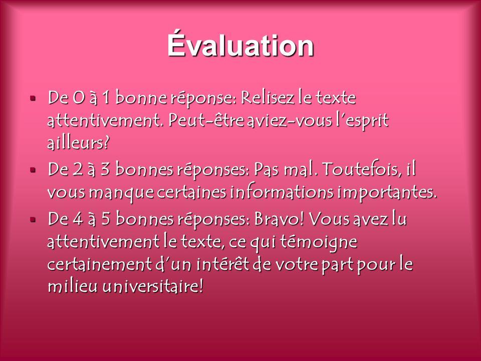 Évaluation De 0 à 1 bonne réponse: Relisez le texte attentivement.