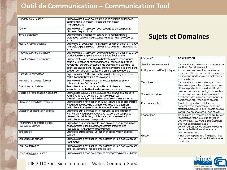 PIR 2010 Eau, Bien Commun – Water, Common Good Outil de Communication – Communication Tool Sujets et Domaines