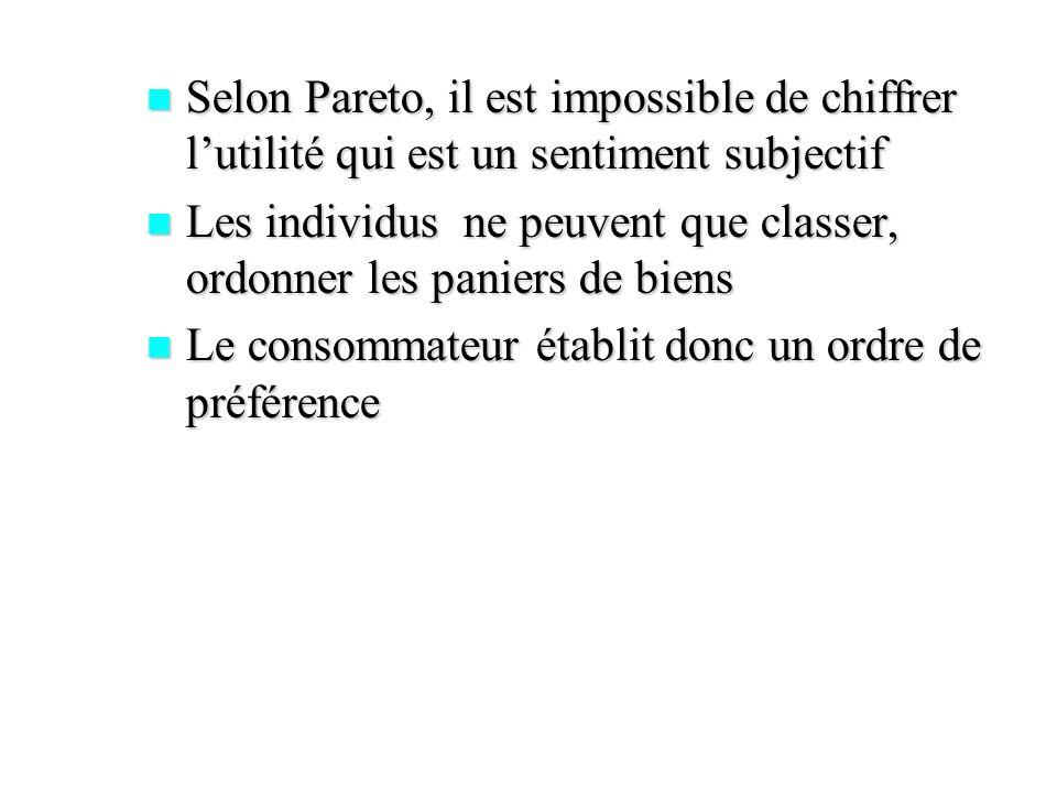 Selon Pareto, il est impossible de chiffrer lutilité qui est un sentiment subjectif Selon Pareto, il est impossible de chiffrer lutilité qui est un se