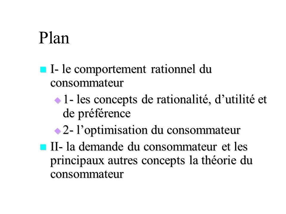 Plan I- le comportement rationnel du consommateur I- le comportement rationnel du consommateur 1- les concepts de rationalité, dutilité et de préféren