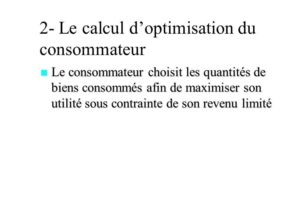 2- Le calcul doptimisation du consommateur Le consommateur choisit les quantités de biens consommés afin de maximiser son utilité sous contrainte de s