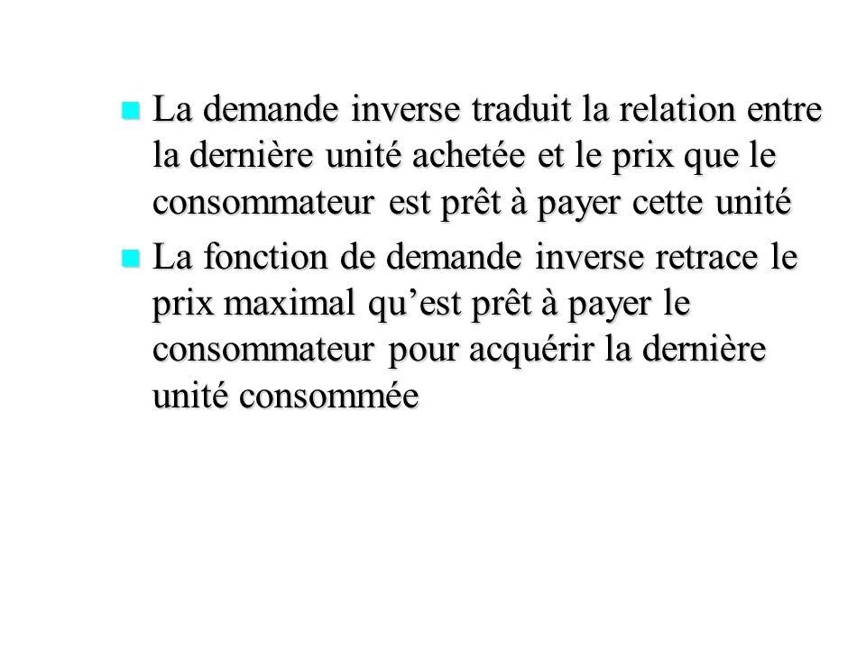 La demande inverse traduit la relation entre la dernière unité achetée et le prix que le consommateur est prêt à payer cette unité La demande inverse