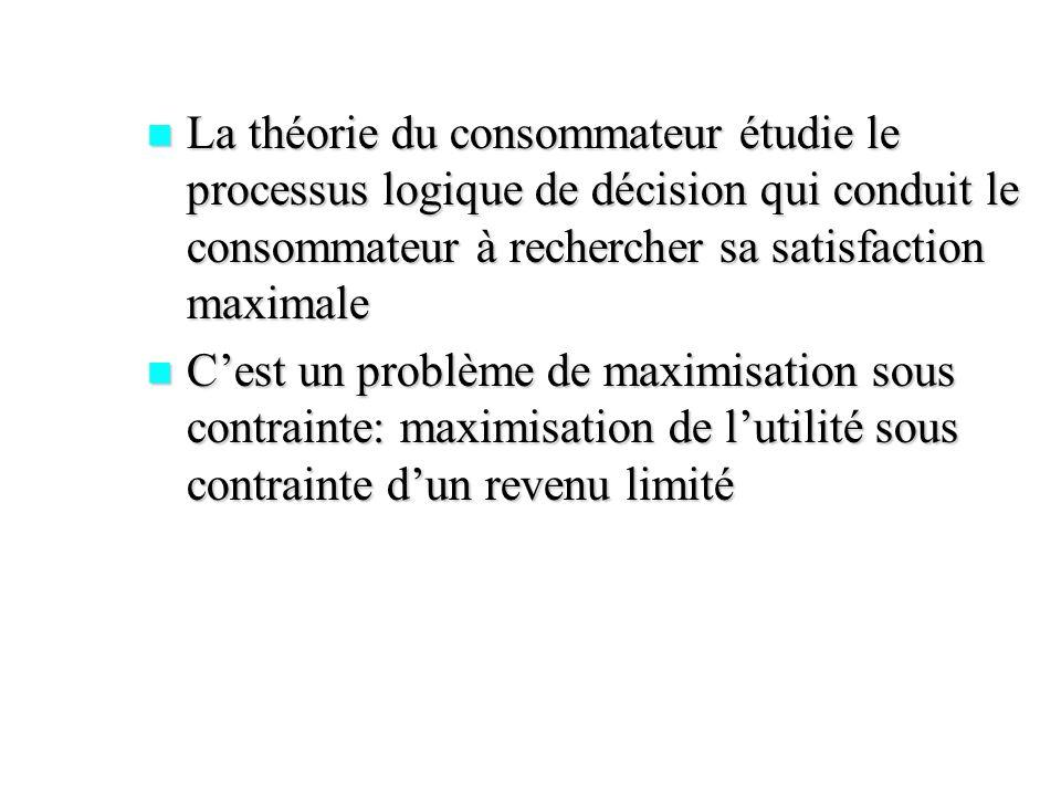 La théorie du consommateur étudie le processus logique de décision qui conduit le consommateur à rechercher sa satisfaction maximale La théorie du con