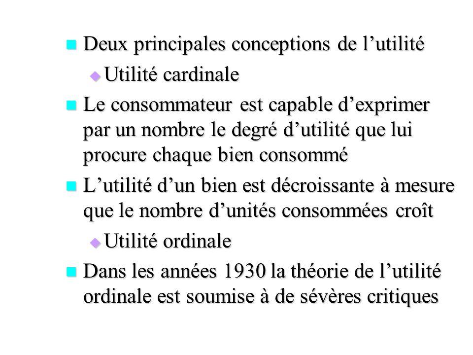 Deux principales conceptions de lutilité Deux principales conceptions de lutilité Utilité cardinale Utilité cardinale Le consommateur est capable dexp