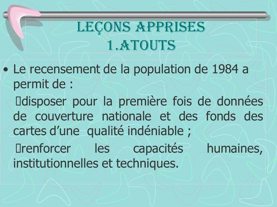 Leçons apprises 1.ATOUTS Le recensement de la population de 1984 a permit de : disposer pour la première fois de données de couverture nationale et des fonds des cartes dune qualité indéniable ; renforcer les capacités humaines, institutionnelles et techniques.