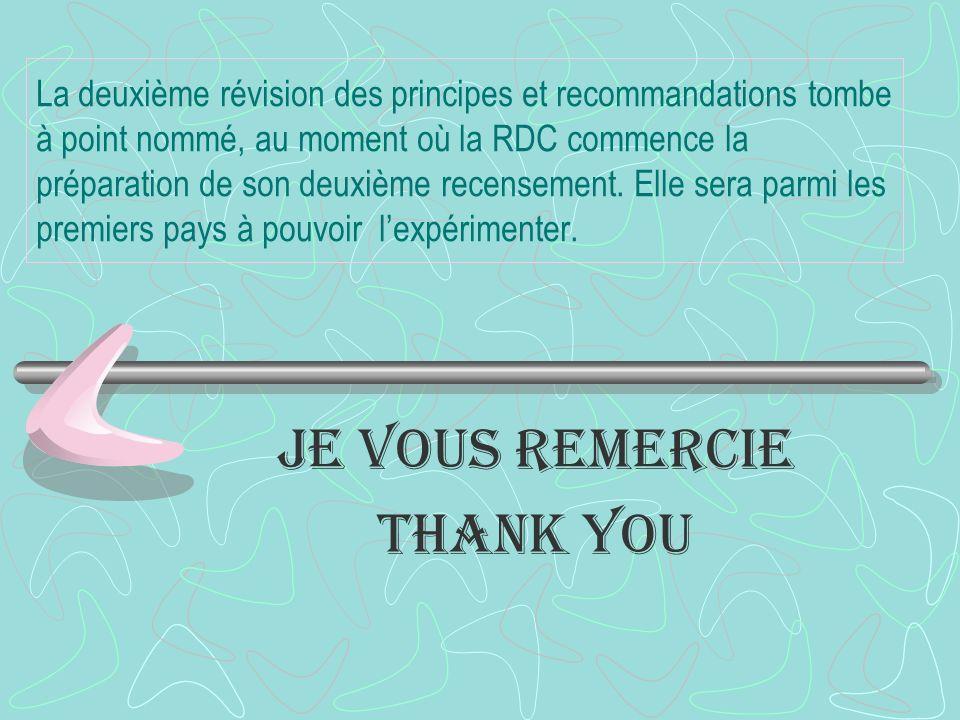 La deuxième révision des principes et recommandations tombe à point nommé, au moment où la RDC commence la préparation de son deuxième recensement.