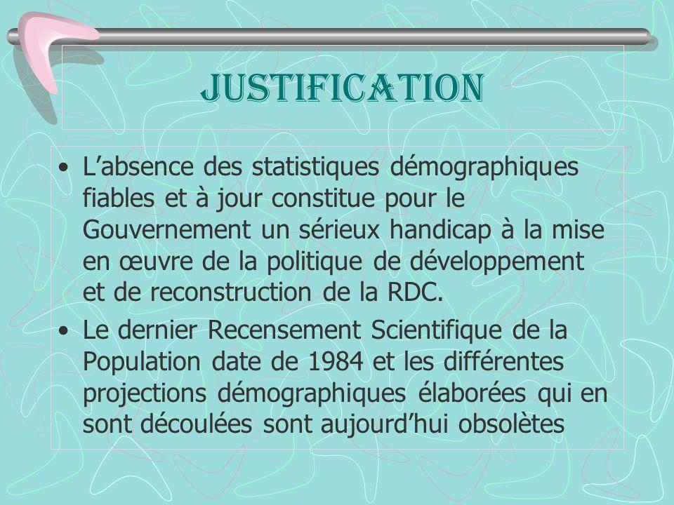JUSTIFICATION Labsence des statistiques démographiques fiables et à jour constitue pour le Gouvernement un sérieux handicap à la mise en œuvre de la politique de développement et de reconstruction de la RDC.