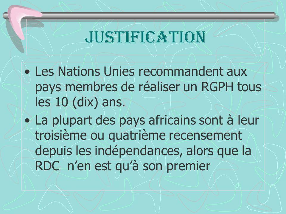 JUSTIFICATION Les Nations Unies recommandent aux pays membres de réaliser un RGPH tous les 10 (dix) ans.