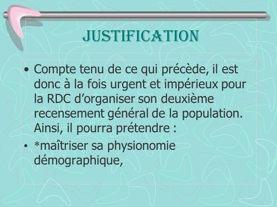 JUSTIFICATION Compte tenu de ce qui précède, il est donc à la fois urgent et impérieux pour la RDC dorganiser son deuxième recensement général de la population.
