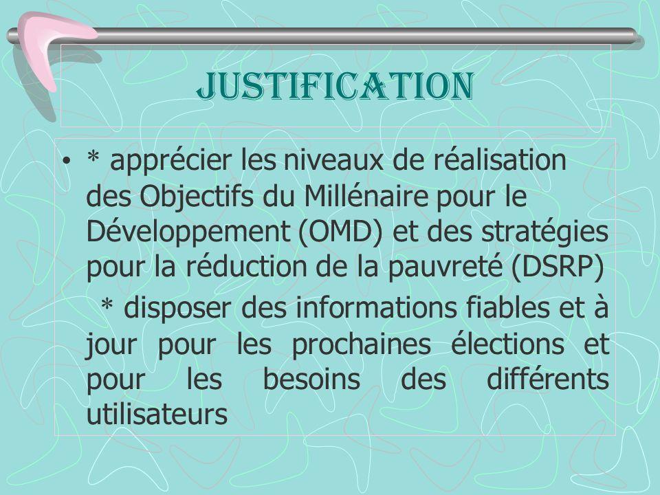JUSTIFICATION * apprécier les niveaux de réalisation des Objectifs du Millénaire pour le Développement (OMD) et des stratégies pour la réduction de la pauvreté (DSRP) * disposer des informations fiables et à jour pour les prochaines élections et pour les besoins des différents utilisateurs