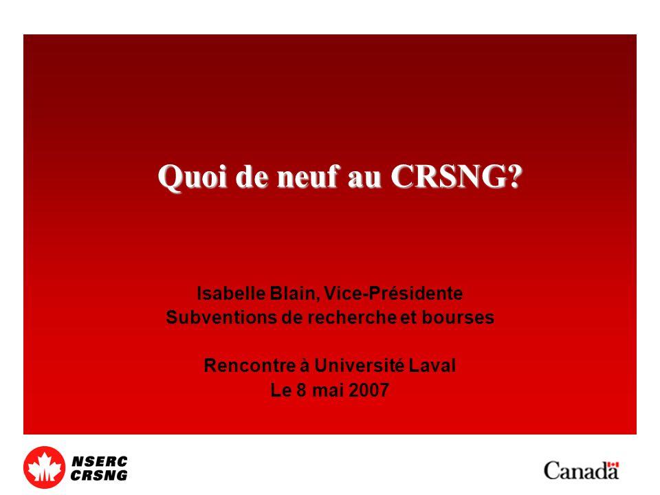 Quoi de neuf au CRSNG.