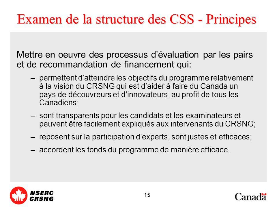 15 Examen de la structure des CSS - Principes Mettre en oeuvre des processus dévaluation par les pairs et de recommandation de financement qui: –permettent datteindre les objectifs du programme relativement à la vision du CRSNG qui est daider à faire du Canada un pays de découvreurs et dinnovateurs, au profit de tous les Canadiens; –sont transparents pour les candidats et les examinateurs et peuvent être facilement expliqués aux intervenants du CRSNG; –reposent sur la participation dexperts, sont justes et efficaces; –accordent les fonds du programme de manière efficace.