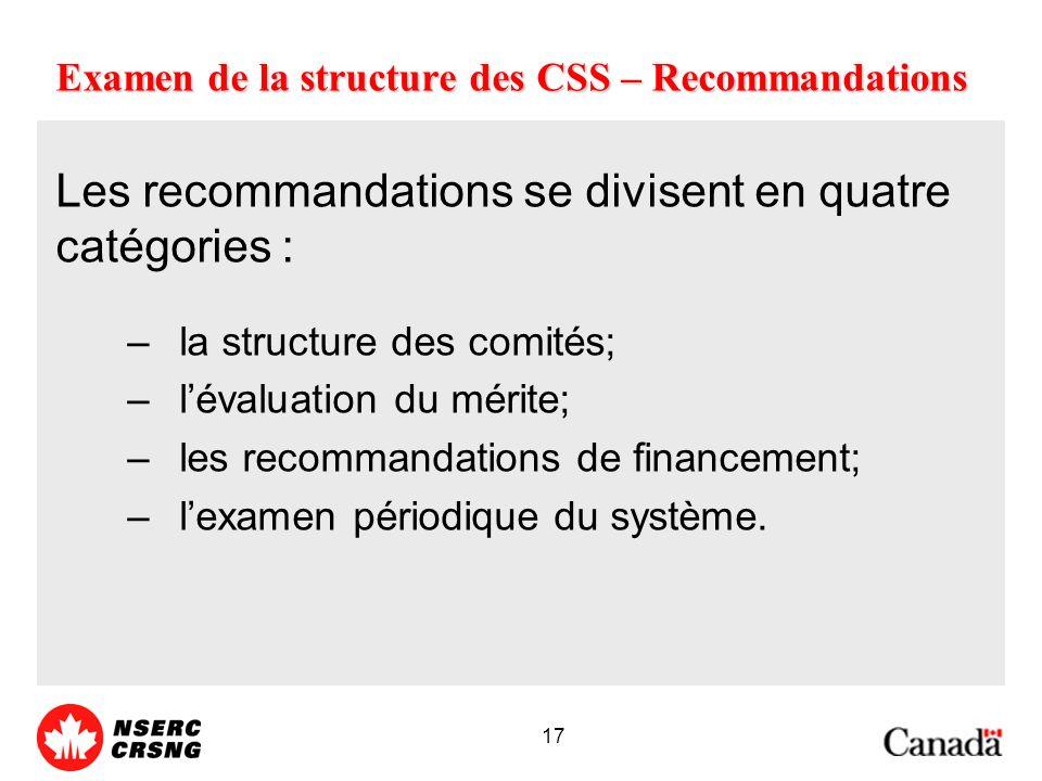 17 Examen de la structure des CSS – Recommandations Les recommandations se divisent en quatre catégories : –la structure des comités; –lévaluation du mérite; –les recommandations de financement; –lexamen périodique du système.