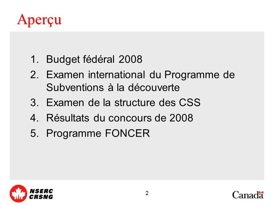 2 Aperçu 1.Budget fédéral 2008 2.Examen international du Programme de Subventions à la découverte 3.Examen de la structure des CSS 4.Résultats du concours de 2008 5.Programme FONCER