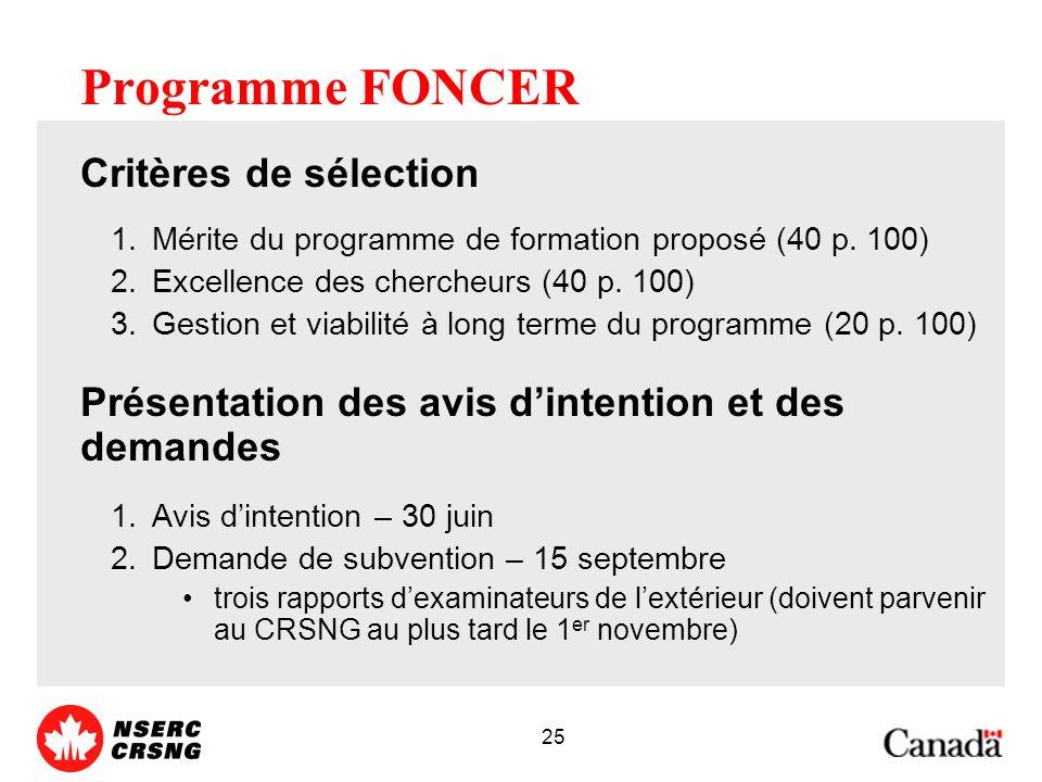 25 Programme FONCER Critères de sélection 1.Mérite du programme de formation proposé (40 p.
