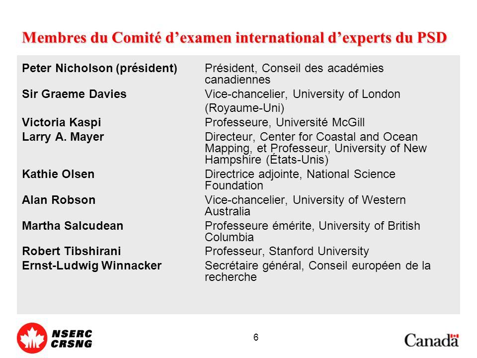 6 Membres du Comité dexamen international dexperts du PSD Peter Nicholson (président)Président, Conseil des académies canadiennes Sir Graeme DaviesVice-chancelier, University of London (Royaume-Uni) Victoria KaspiProfesseure, Université McGill Larry A.
