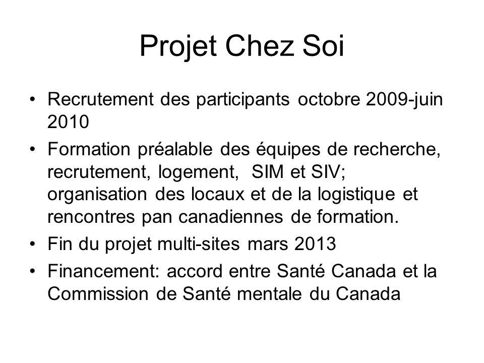 Projet Chez Soi Recrutement des participants octobre 2009-juin 2010 Formation préalable des équipes de recherche, recrutement, logement, SIM et SIV; o
