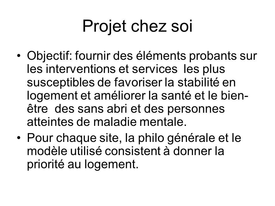 Projet chez soi Objectif: fournir des éléments probants sur les interventions et services les plus susceptibles de favoriser la stabilité en logement