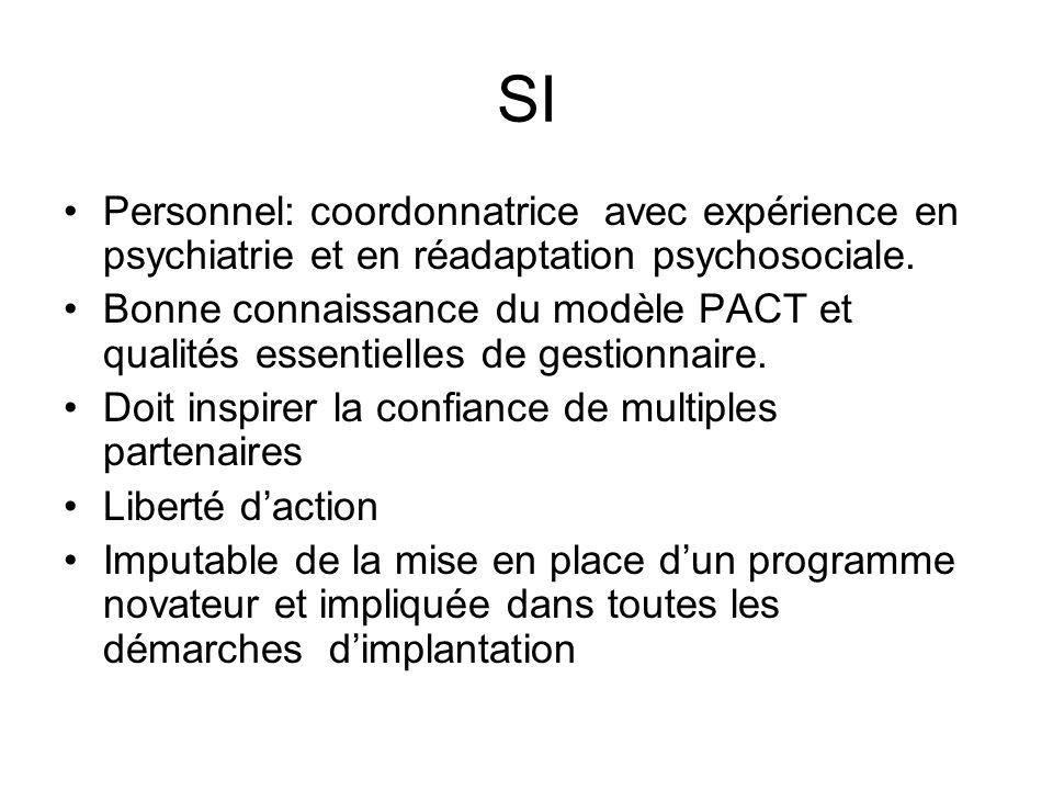 SI Personnel: coordonnatrice avec expérience en psychiatrie et en réadaptation psychosociale. Bonne connaissance du modèle PACT et qualités essentiell