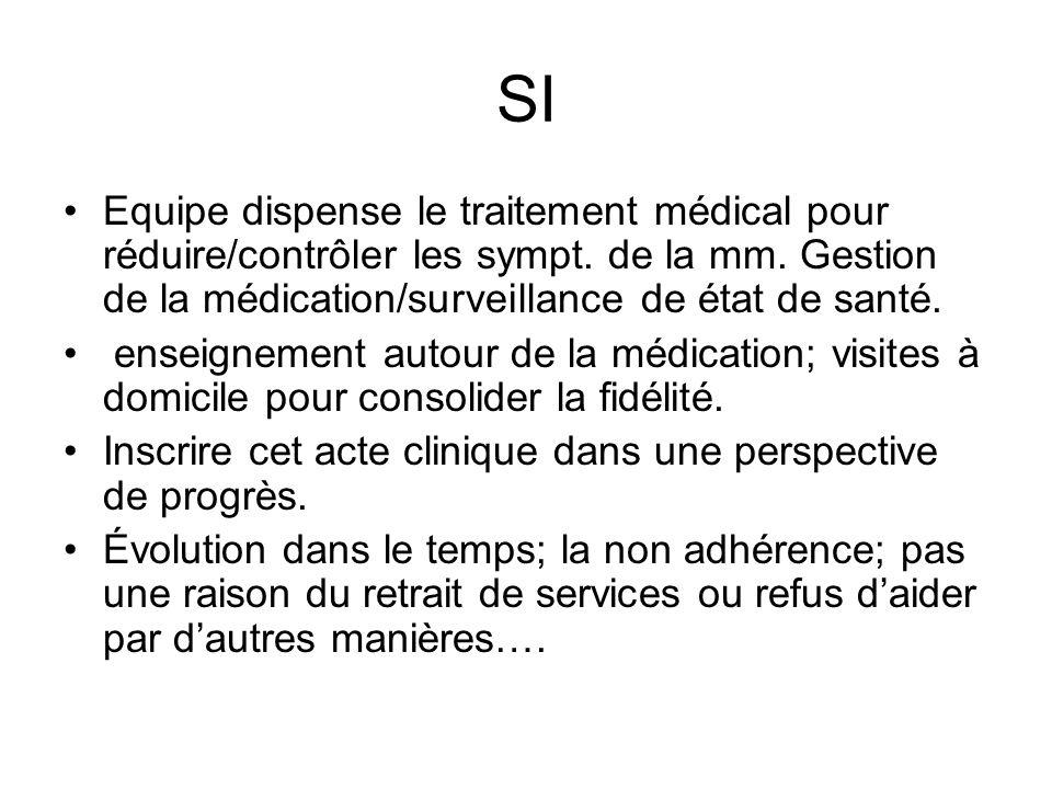SI Equipe dispense le traitement médical pour réduire/contrôler les sympt. de la mm. Gestion de la médication/surveillance de état de santé. enseignem