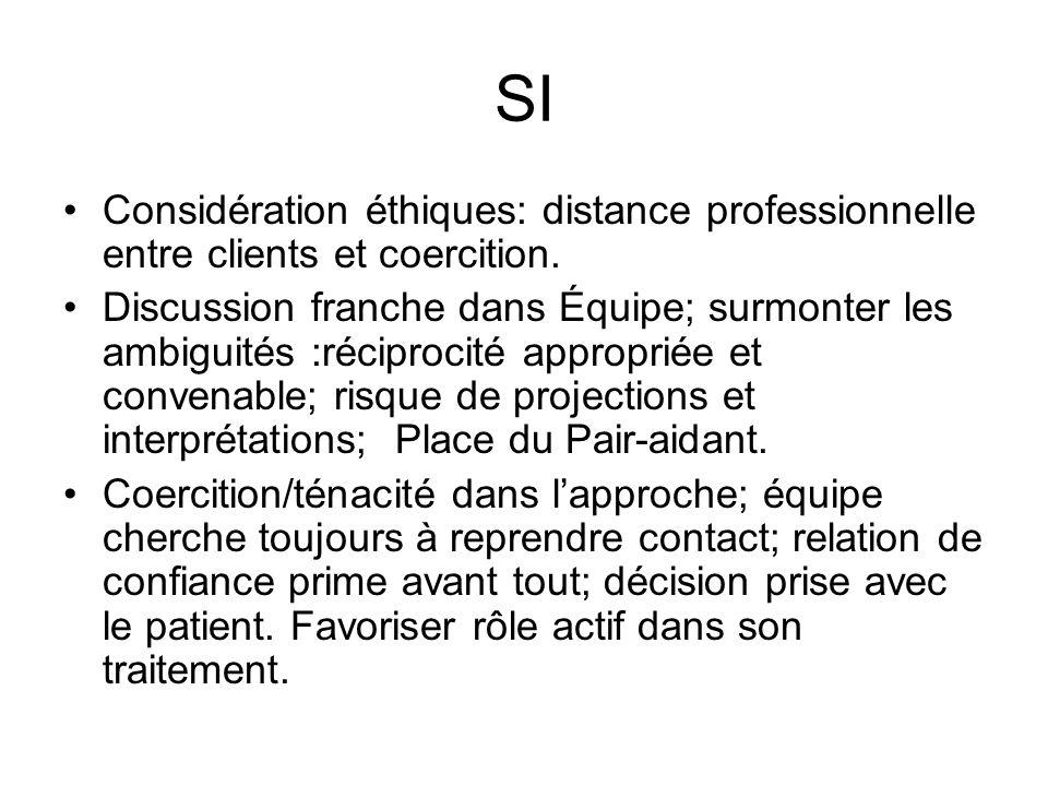 SI Considération éthiques: distance professionnelle entre clients et coercition. Discussion franche dans Équipe; surmonter les ambiguités :réciprocité
