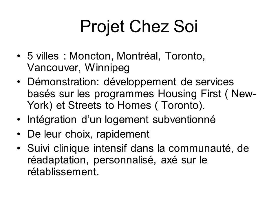 Projet Chez Soi 5 villes : Moncton, Montréal, Toronto, Vancouver, Winnipeg Démonstration: développement de services basés sur les programmes Housing F