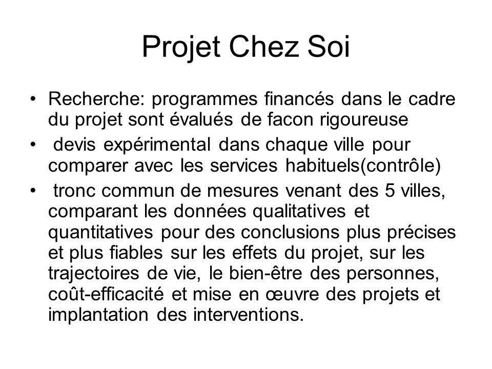 Projet Chez Soi Recherche: programmes financés dans le cadre du projet sont évalués de facon rigoureuse devis expérimental dans chaque ville pour comp