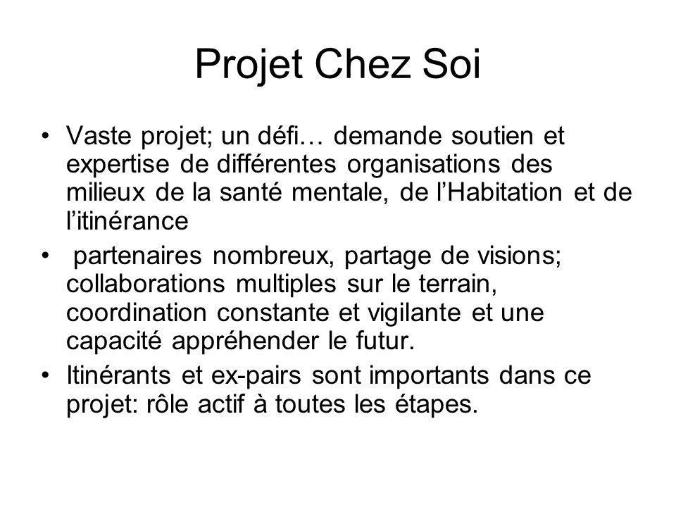 Projet Chez Soi Vaste projet; un défi… demande soutien et expertise de différentes organisations des milieux de la santé mentale, de lHabitation et de