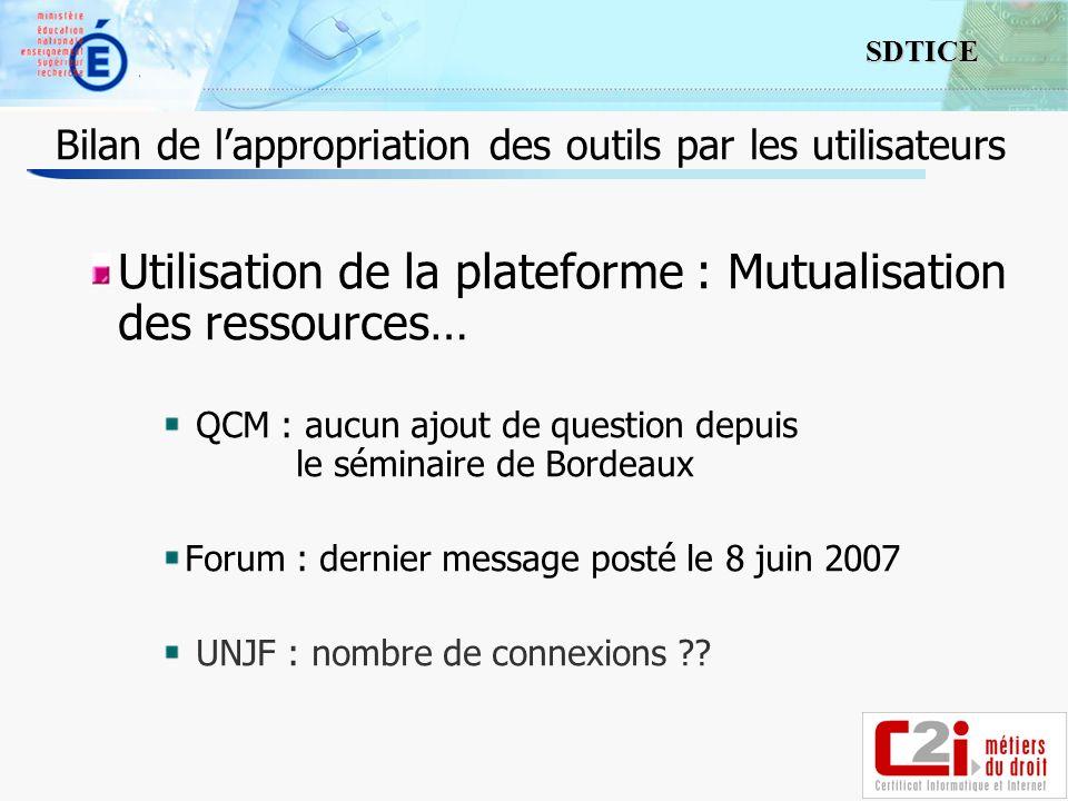 11 SDTICE Utilisation de la plateforme : Mutualisation des ressources… QCM : aucun ajout de question depuis le séminaire de Bordeaux Forum : dernier message posté le 8 juin 2007 UNJF : nombre de connexions .