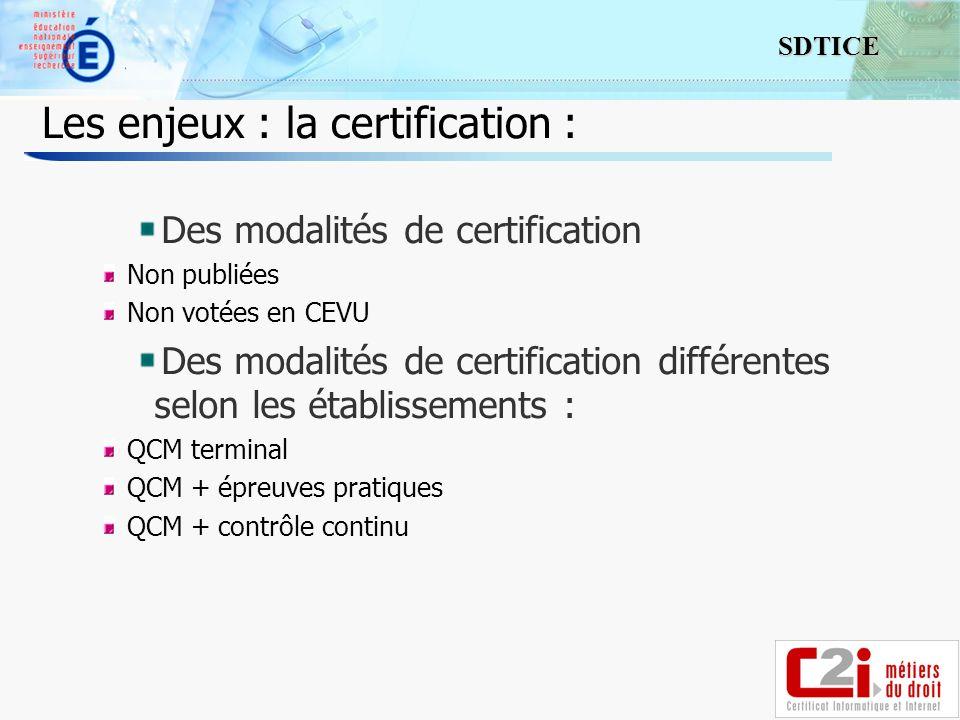 15 SDTICE Les enjeux : la certification : Des modalités de certification Non publiées Non votées en CEVU Des modalités de certification différentes selon les établissements : QCM terminal QCM + épreuves pratiques QCM + contrôle continu