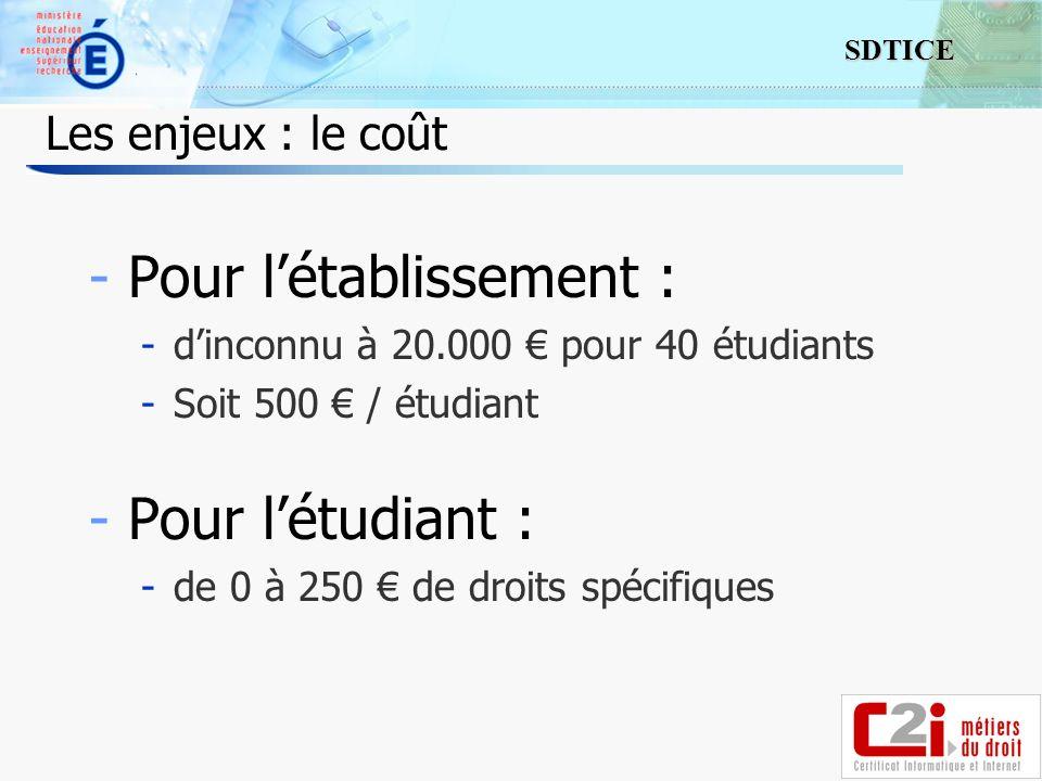 16 SDTICE Les enjeux : le coût -Pour létablissement : -dinconnu à 20.000 pour 40 étudiants -Soit 500 / étudiant -Pour létudiant : -de 0 à 250 de droits spécifiques