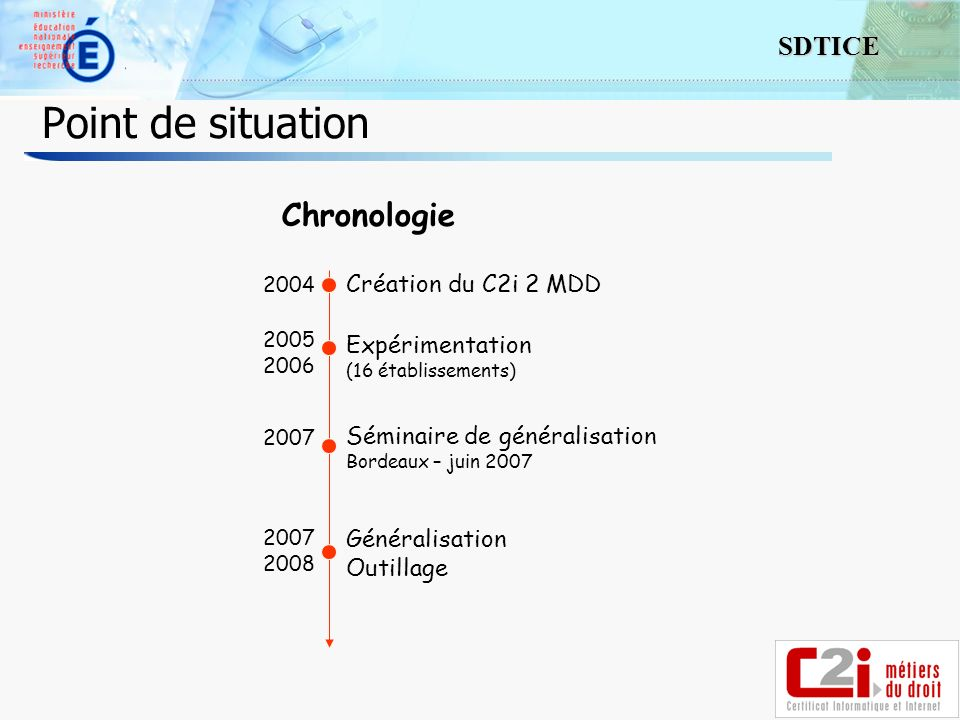4 SDTICE Point de situation Chronologie Création du C2i 2 MDD Expérimentation (16 établissements) 2004 2005 2006 2007 Séminaire de généralisation Bordeaux – juin 2007 2007 2008 Généralisation Outillage