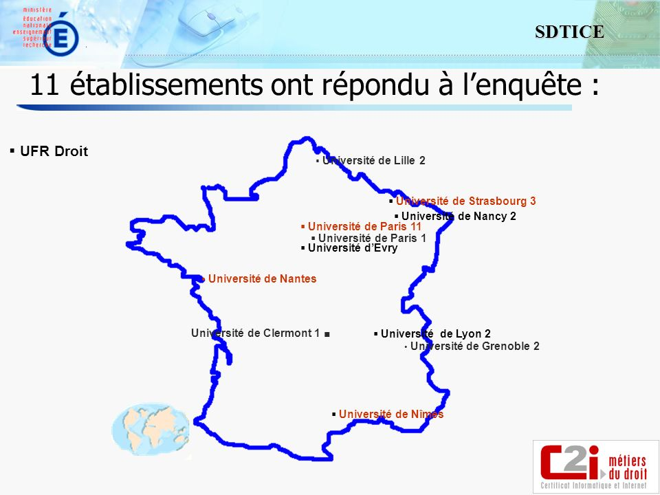 8 SDTICE 11 établissements ont répondu à lenquête : Université de Clermont 1 Université de Grenoble 2 Université de Lyon 2 Université de Nancy 2 Université de Paris 1 Université de Paris 11 Université dEvry UFR Droit Université de Lille 2 Université de Nantes Université de Nîmes Université de Strasbourg 3