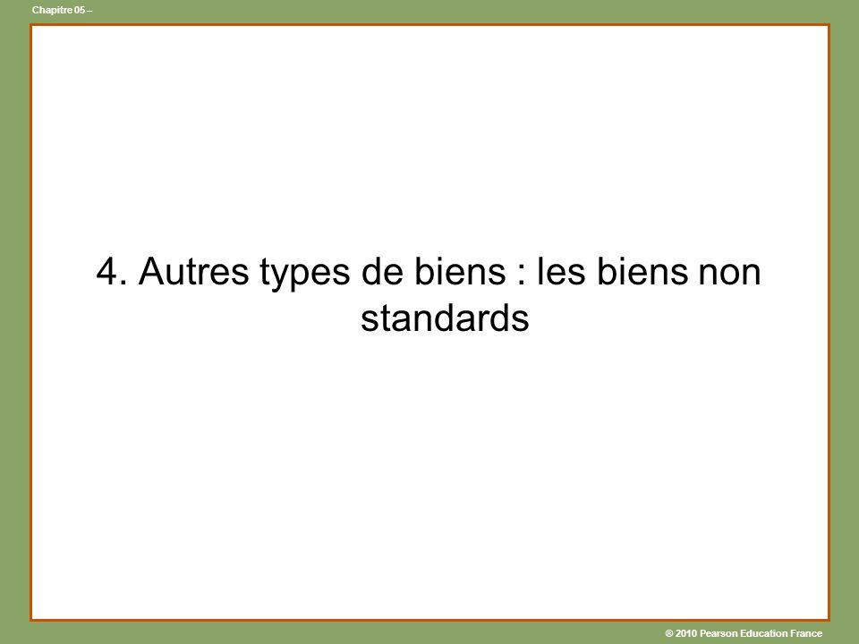 ® 2010 Pearson Education France Chapitre 05 – 4. Autres types de biens : les biens non standards