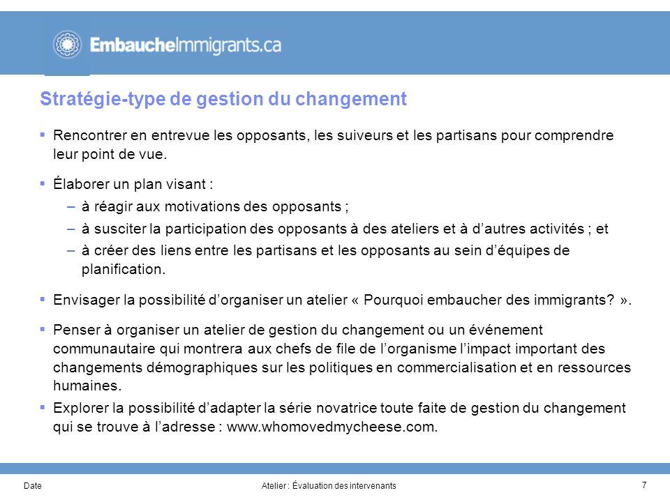DateAtelier : Évaluation des intervenants 7 Stratégie-type de gestion du changement Rencontrer en entrevue les opposants, les suiveurs et les partisans pour comprendre leur point de vue.