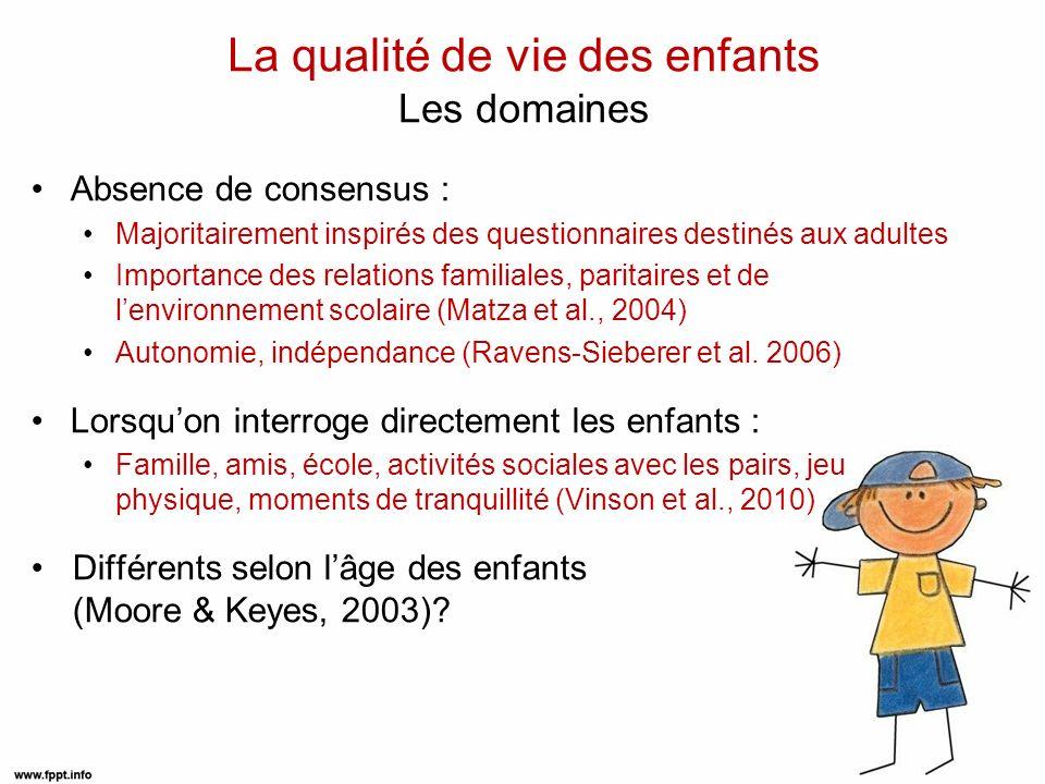 La qualité de vie des enfants Les méthodes dévaluation Hétéro VS auto-évaluation : Compétences cognitives et langagières limitées Mise au point doutils simples et adaptés aux jeunes enfants Concordance modérée à bonne, plus élevée dans les domaines observables (Upton et al., 2008) Echelles génériques VS spécifiques 3 échelles génériques validées en français : PedsQL (Tessier et al., 2009) : 6-13 ans KidlQol (Gayral-Taminh et al., 2005) : 6-12 ans AUQUEI (Magnificat et al., 1997) : 3-12 ans