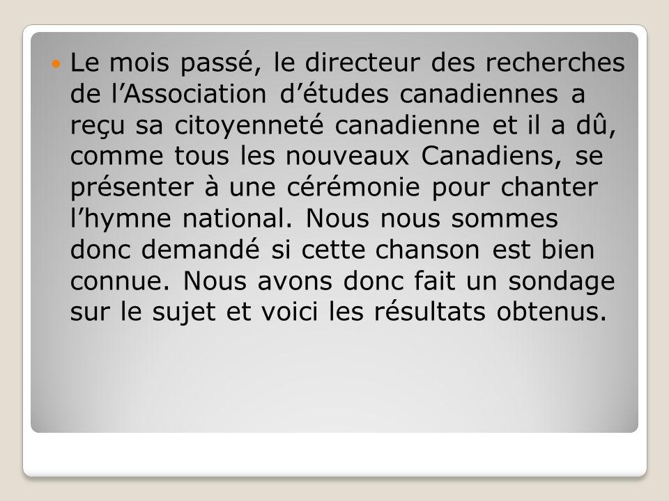 Méthodologie Ce sondage a été effectué en ligne à travers tout le Canada avec un échantillon représentatif de 2 345 Canadiens, entre le 20 septembre et le 3 octobre 2011.