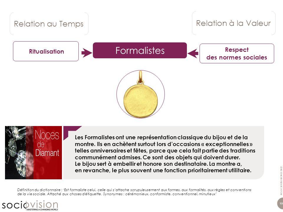 © SOCIOVISON 2011-2012 13 Les Formalistes ont une représentation classique du bijou et de la montre. Ils en achètent surtout lors doccasions « excepti
