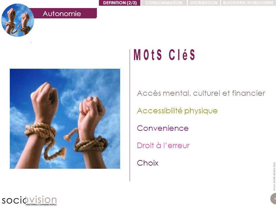 © SOCIOVISON 2011-2012 3 Accessibilité physique Accès mental, culturel et financier Convenience Choix Droit à lerreur Autonomie DEFINITION (2/3)CONSOM