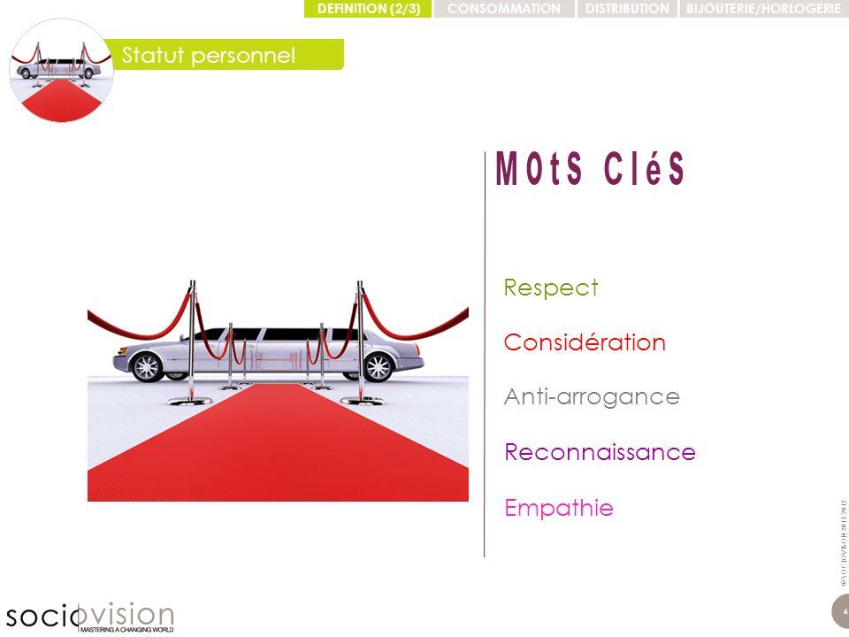 © SOCIOVISON 2011-2012 7 Adéquation Personnalisation Singularité Proximité Faire soi-même DEFINITION (2/3)CONSOMMATIONDISTRIBUTIONBIJOUTERIE/HORLOGERIE Individuation