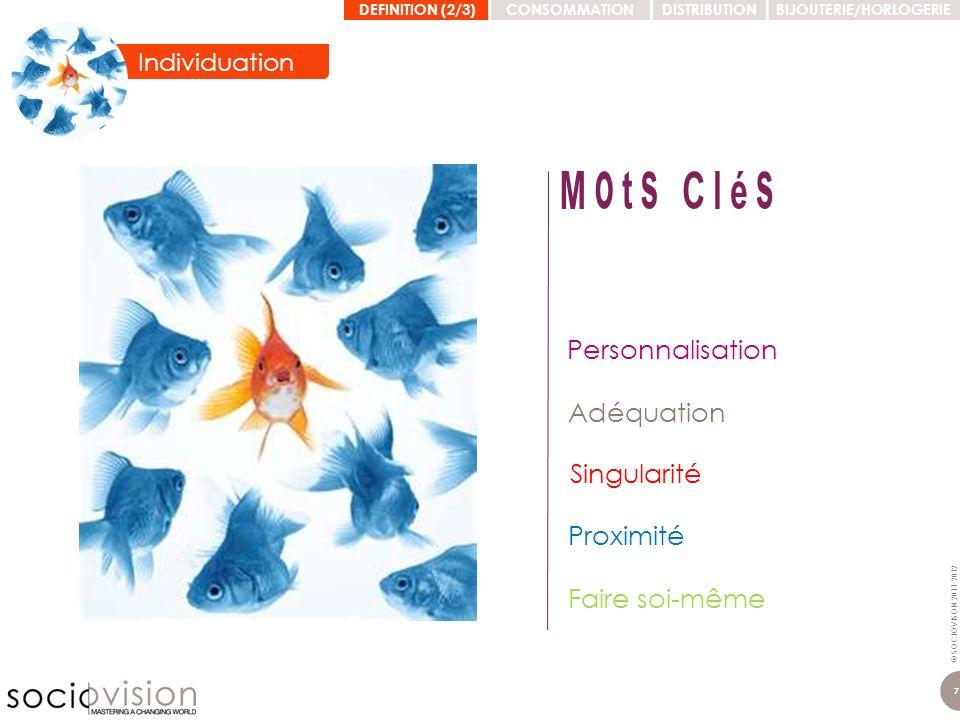 © SOCIOVISON 2011-2012 7 Adéquation Personnalisation Singularité Proximité Faire soi-même DEFINITION (2/3)CONSOMMATIONDISTRIBUTIONBIJOUTERIE/HORLOGERI