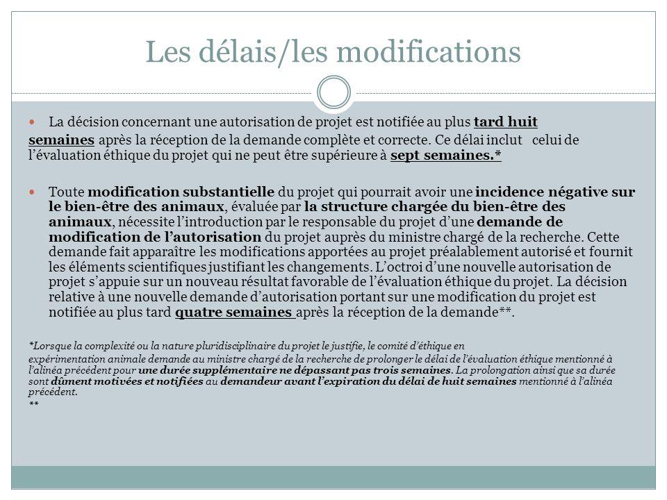 Les délais/les modifications La décision concernant une autorisation de projet est notifiée au plus tard huit semaines après la réception de la demand