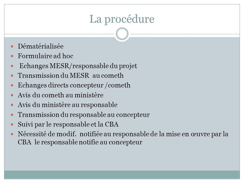 La procédure Dématérialisée Formulaire ad hoc Echanges MESR/responsable du projet Transmission du MESR au cometh Echanges directs concepteur /cometh A