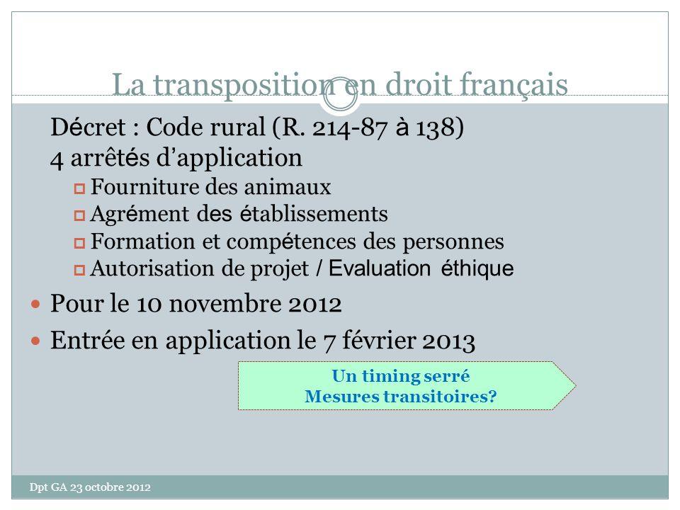La transposition en droit français D é cret : Code rural (R. 214-87 à 138) 4 arrêt é s d application Fourniture des animaux Agr é ment d es é tablisse