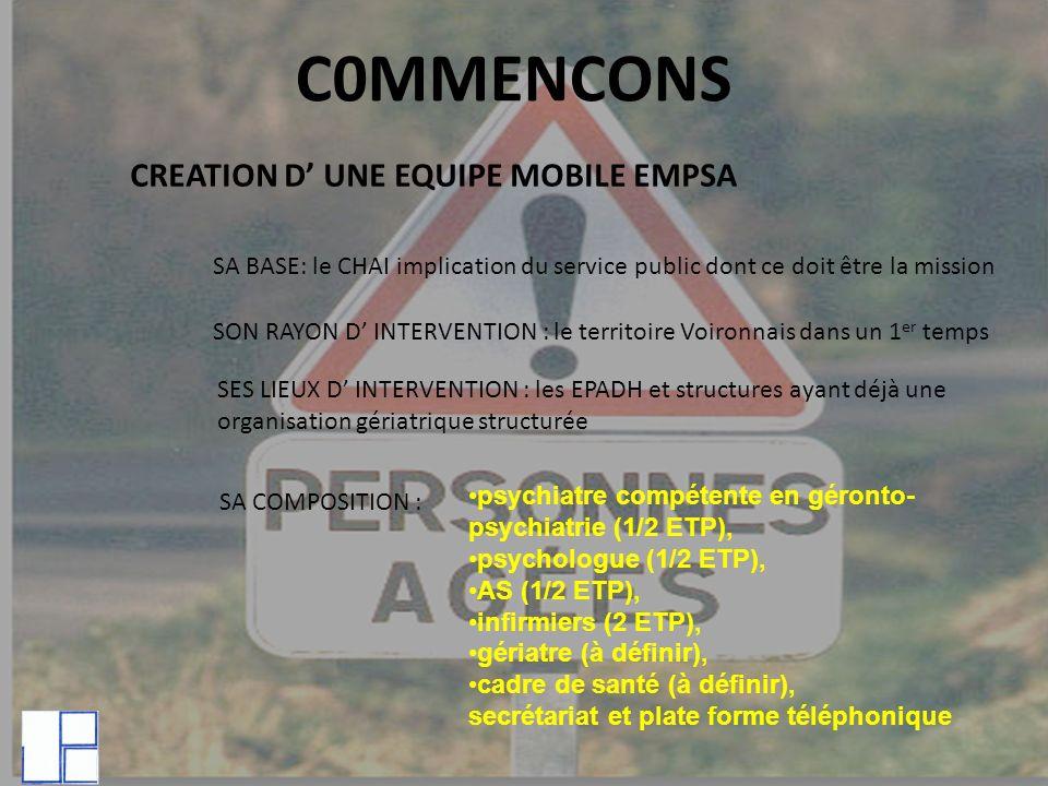 C0MMENCONS CREATION D UNE EQUIPE MOBILE EMPSA SA BASE: le CHAI implication du service public dont ce doit être la mission SON RAYON D INTERVENTION : l