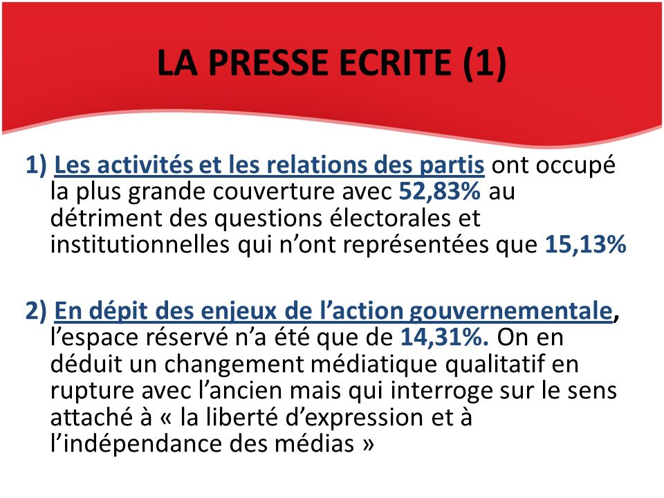 LA PRESSE ECRITE (1) 1) Les activités et les relations des partis ont occupé la plus grande couverture avec 52,83% au détriment des questions électora