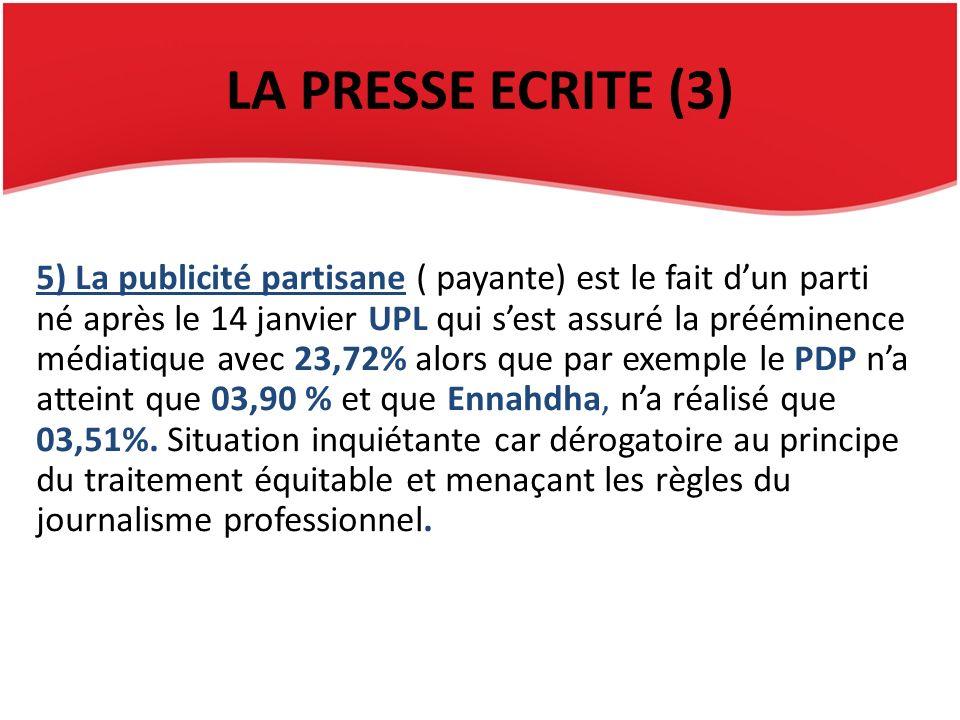LA PRESSE ECRITE (3) 5) La publicité partisane ( payante) est le fait dun parti né après le 14 janvier UPL qui sest assuré la prééminence médiatique avec 23,72% alors que par exemple le PDP na atteint que 03,90 % et que Ennahdha, na réalisé que 03,51%.