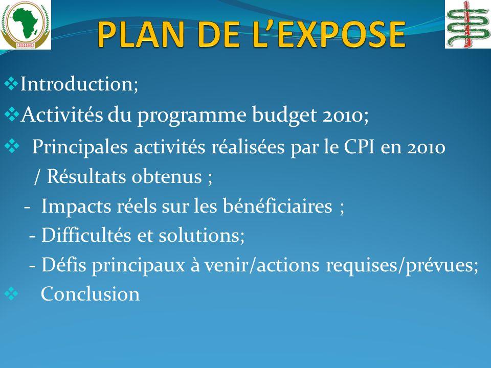 Introduction; Activités du programme budget 2010; Principales activités réalisées par le CPI en 2010 / Résultats obtenus ; - Impacts réels sur les bénéficiaires ; - Difficultés et solutions; - Défis principaux à venir/actions requises/prévues; Conclusion